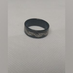 New Silverline Black Tribal Ring size 10